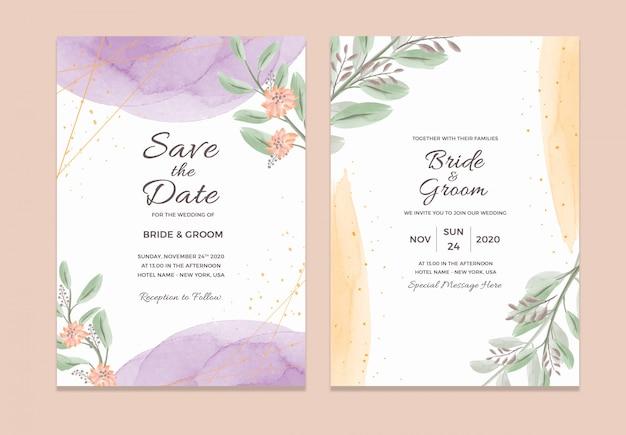 Modelo de cartão de convite de casamento com decorações em aquarela moldura floral