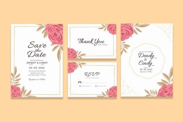 Modelo de cartão de convite de casamento com decorações florais em aquarela