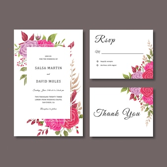 Modelo de cartão de convite de casamento com modelo de decoração de flores