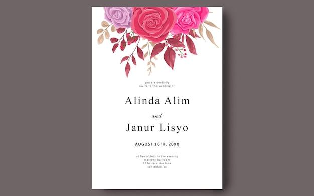 Modelo de cartão de convite de casamento com modelo de quadro de flor rosa