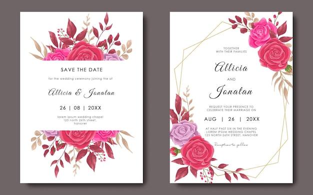 Modelo de cartão de convite de casamento com moldura geométrica e modelo de flor rosa