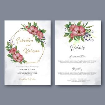 Modelo de cartão de convite de casamento e detalhes do cartão com decorações de flores em aquarela