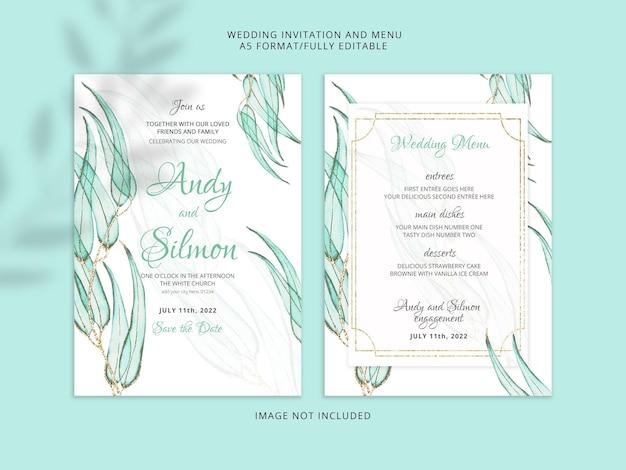Modelo de cartão de convite de casamento floral em aquarela linda