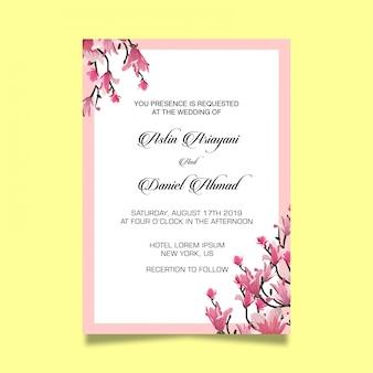 Modelo de cartão de convite de casamento linda flor de cerejeira