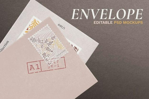 Modelo de cartão de convite elegante psd com envelope preto