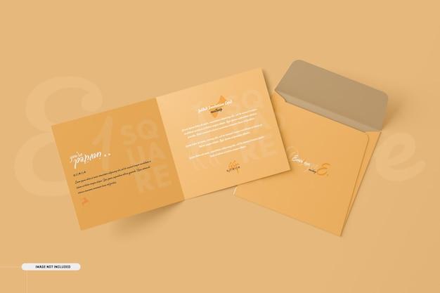 Modelo de cartão de convite quadrado com duas dobras