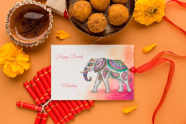Modelo de cartão de desenho de elefante do festival diwali com fita
