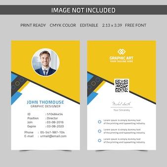 Modelo de cartão de identificação amarelo