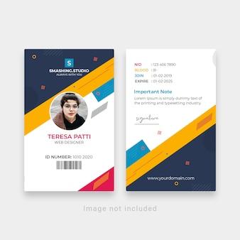 Modelo de cartão de identificação de escritório corporativo