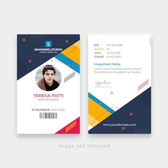 Modelo de cartão de identificação do creative office