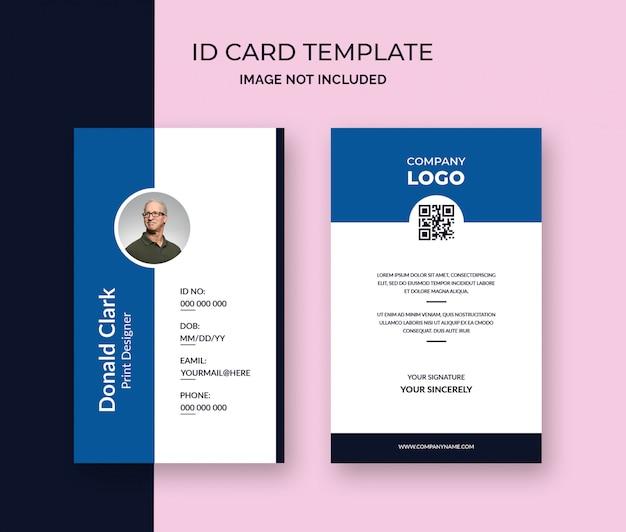 Modelo de cartão de identificação mínima do escritório