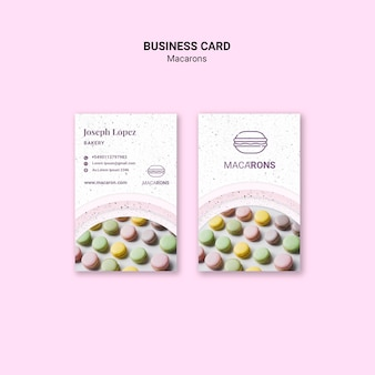 Modelo de cartão de macarons coloridos