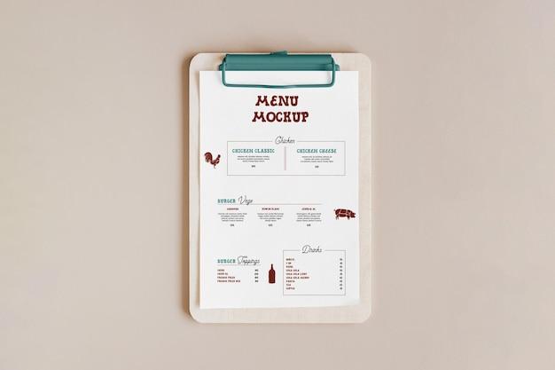 Modelo de cartão de menu