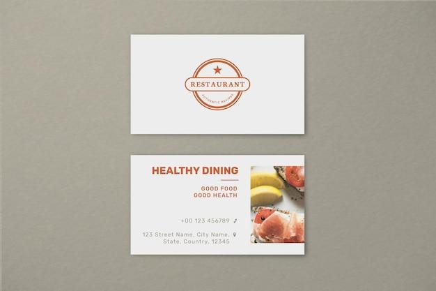 Modelo de cartão de negócio de restaurante psd em vista frontal e traseira