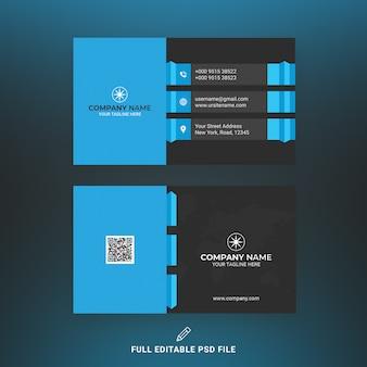 Modelo de cartão de negócios azul e preto corporativo