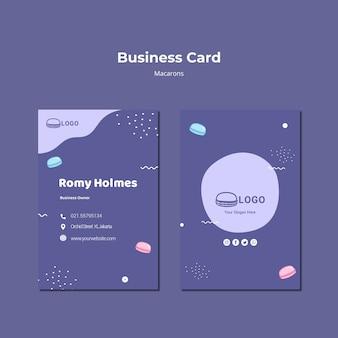 Modelo de cartão de negócios - conceito de macarons