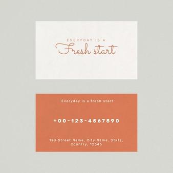 Modelo de cartão de negócios de alimentos psd em vista frontal e traseira