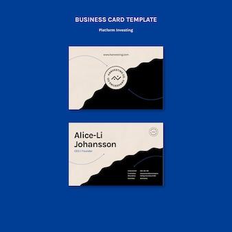 Modelo de cartão de negócios de investimento em plataforma