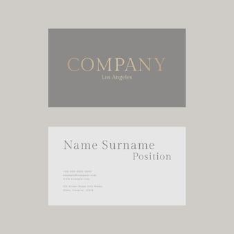Modelo de cartão de negócios de luxo psd em tons de ouro e cinza com vista frontal e traseira plana lay