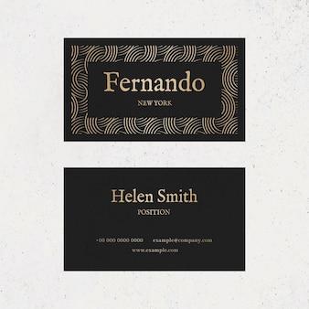 Modelo de cartão de negócios de luxo psd em tons de ouro e preto com vista frontal e traseira plana lay