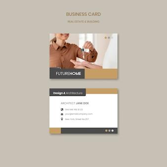 Modelo de cartão de negócios imobiliário com foto