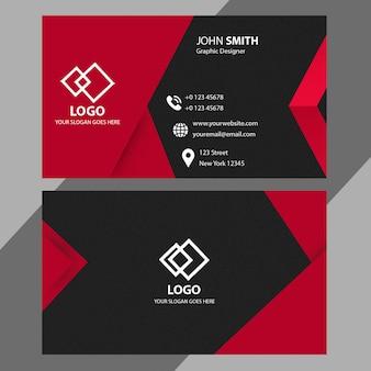 Modelo de cartão de negócios vermelho e preto