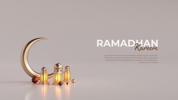 Modelo de cartão de ramadã islâmico com lua crescente em 3d e lanterna árabe