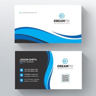 Modelo de cartão de visita azul ondulado psd