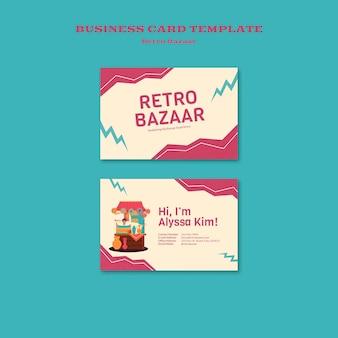 Modelo de cartão de visita de bazar retrô