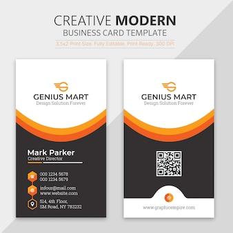 Modelo de cartão de visita de forma laranja