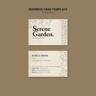 Modelo de cartão de visita de jardim sereno
