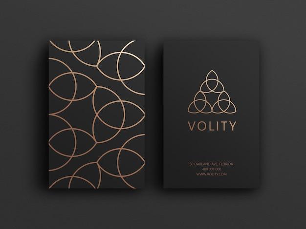 Modelo de cartão de visita de luxo preto e dourado