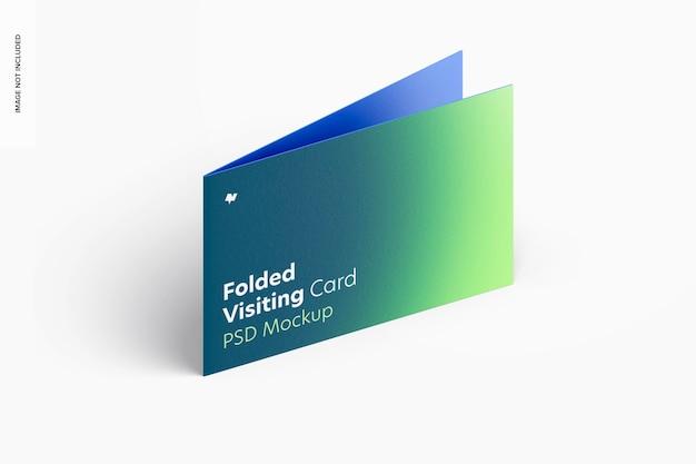 Modelo de cartão de visita dobrado, vista esquerda isométrica