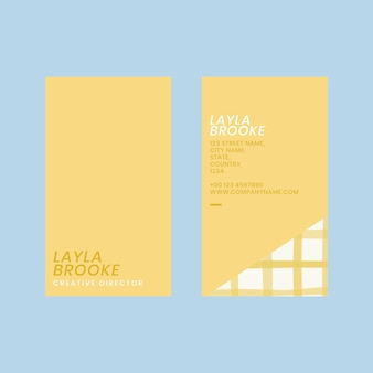 Modelo de cartão de visita editável psd em padrão amarelo pastel fofo