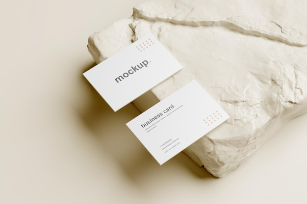Modelo de cartão de visita em perspectiva com rocha branca