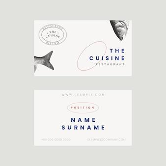Modelo de cartão de visita estético psd para restaurante, remixado de obras de arte de domínio público