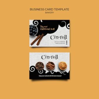 Modelo de cartão de visita horizontal para padaria
