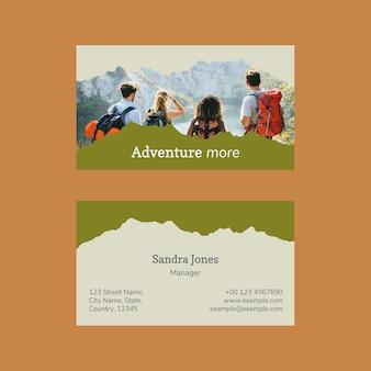 Modelo de cartão de visita moderno com foto psd anexável para agência de viagens