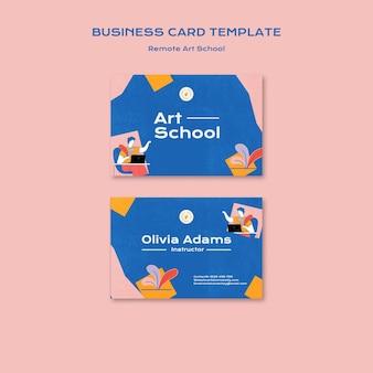 Modelo de cartão de visita para escola de arte remota