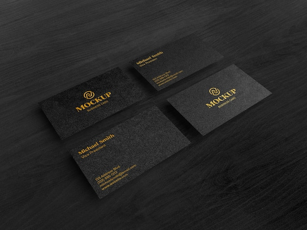 Modelo de cartão de visita preto dourado luxuoso com vista superior inclinada