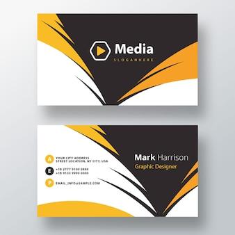 Modelo de cartão de visita psd amarelo ondulado elegante