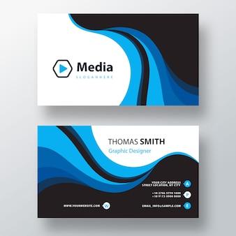 Modelo de cartão de visita psd azul