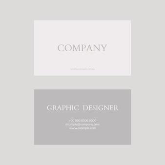 Modelo de cartão de visita psd em tons de cinza e branco flatlay