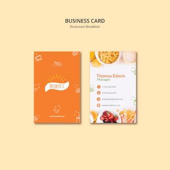 Modelo de cartão-de-visita - restaurante de café da manhã