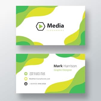 Modelo de cartão de visita verde elegante ondulado em psd