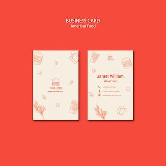 Modelo de cartão para restaurante de hambúrguer