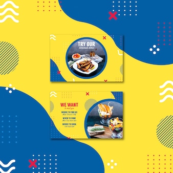 Modelo de cartão para restaurante em estilo memphis