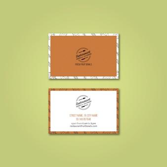 Modelo de cartão para restaurante