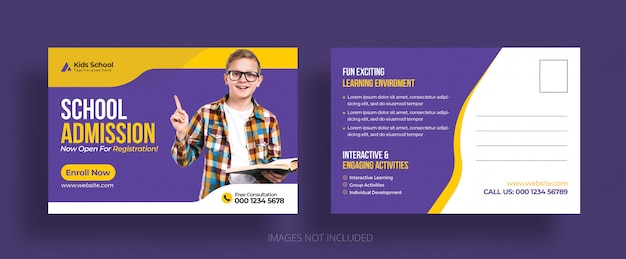 Modelo de cartão postal - admissão eddm de educação escolar para crianças