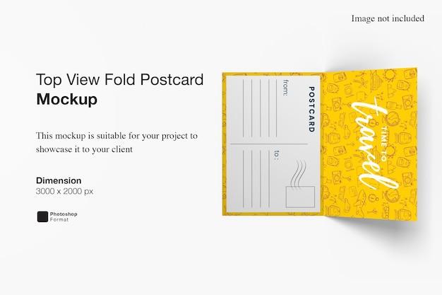 Modelo de cartão postal com dobra de vista superior